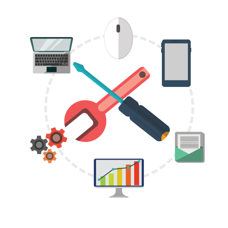 Image of mutiple icons, computer and mouse, tablet, gears, documents, analytics, tools screwdriver wrench