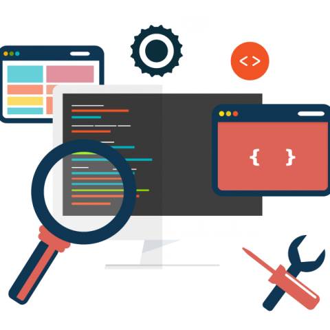 Image of Computer, coding, magnifying glass, tools for Website Development